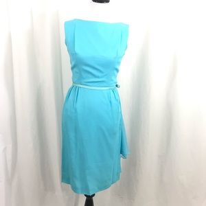 Vintage 60s Designer Blue Chiffon Wiggle Dress M